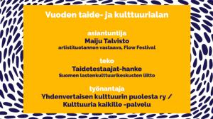 Taidetestaajille TAKUn Vuoden taide- ja kulttuurialan teko -palkinto 2019